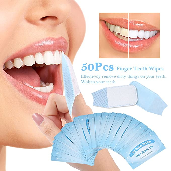 Anself 50pcs Toallita Dental Whitening Wipes para Limpieza de los Dientes: Amazon.es: Salud y cuidado personal
