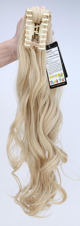 S-noilite - 60cm Extensión de cabello, cola de caballo, Peluca Cola de Caballo ondulada con clips, Garra en el pelo - Mezcla de oro blanqueador rubio: ...