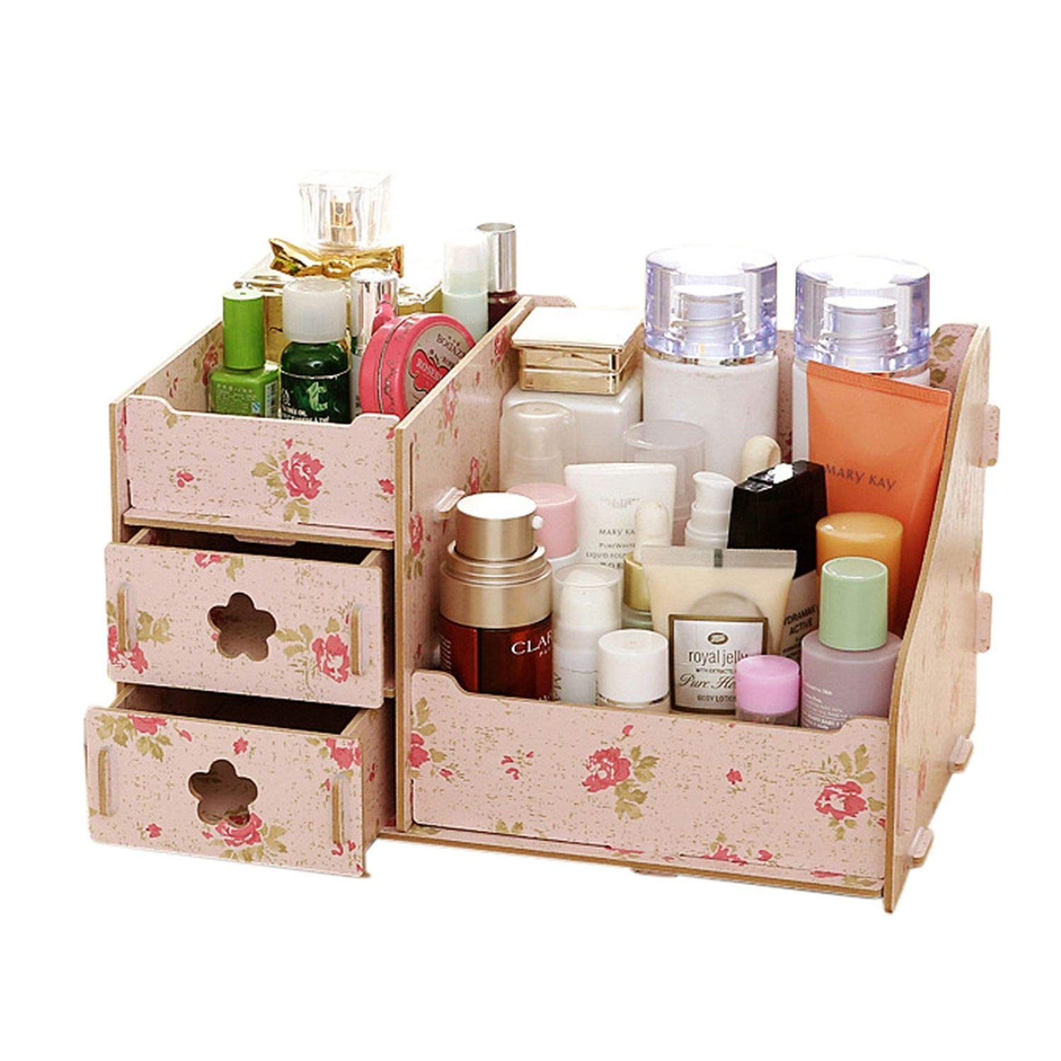 Collocation-Online Wooden Cosmetic Storage Boxes Small Drawer Jewelry Box Desktop Sundries Handmade DIY Makeup,Flower A by Collocation-Online (Image #2)