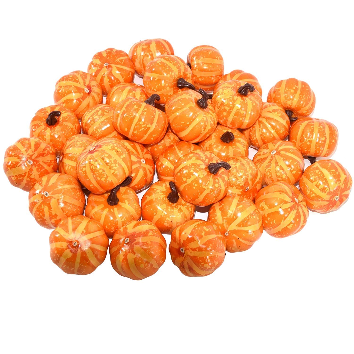 Gift Boutique 36 Count Artificial Realistic Halloween Harvest Mini Orange Pumpkins for Fall Autumn Thanksgiving Party Crafts and Home Décor 36 pumpkin