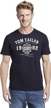 Tom Tailor Nos - Camiseta de manga larga con cuello redondo para hombre