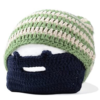 a14ba4d6def SODIAL(R) Handmade Knitted Crochet Beard Hat Bicycle Mask Ski Cap roman  knight octopus Cool Funny beanies Gift(Beige   green)  Amazon.co.uk   Clothing