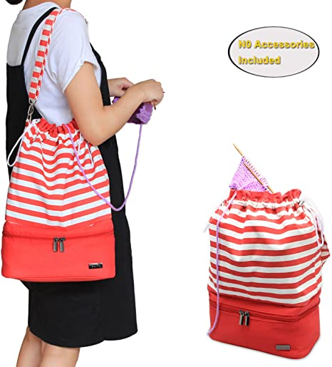 Unfinished Project Perfect for Knitting on The Go Drawstring Travel Shoulder Tote Bag Organizer for Yarn Knitting Needles and Accessories Teamoy Knitting Bag Red Strips No Accessories Included