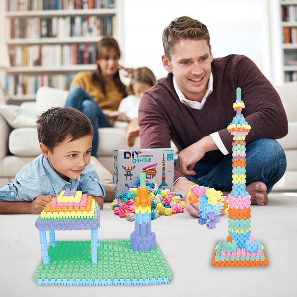 Lekebaby 132 PCS 3D Hexagon Building Blocks Interlocking Creative Connecting Kit DIY Puzzle Block for Kids 3 Years and Up