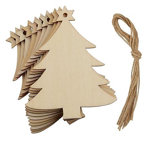 Regali Di Natale In Legno.Fepito 10 Pz Piccolo Albero Di Natale Ornamenti In Legno Regali Di