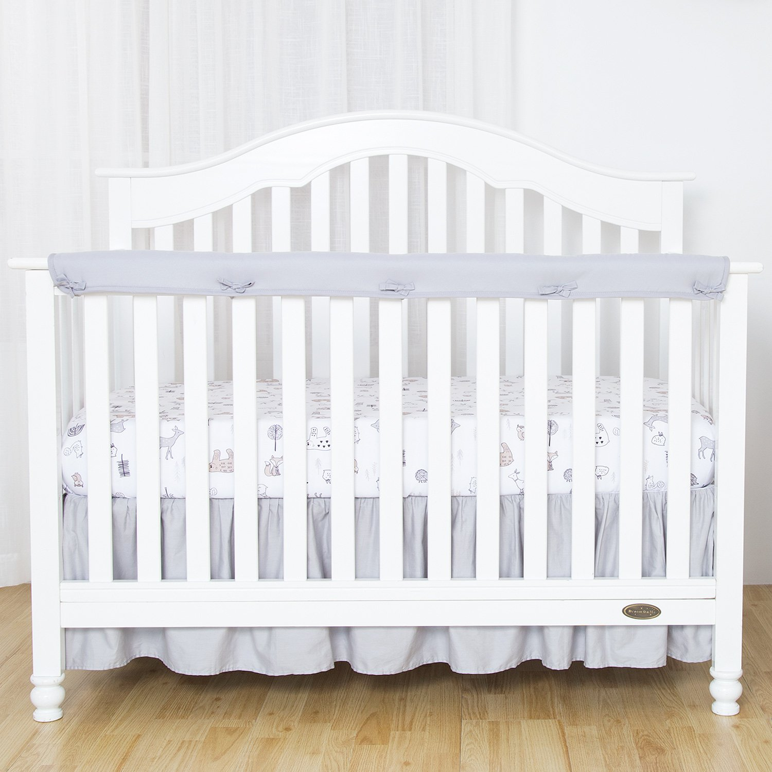 TILLYOU 1-Pack Padded Baby Crib Rail Cover Protector Safe Teething Guard Wrap for Long Front Crib Rails(Measuring Up to 8'' Around), 100% Silky Soft Microfiber Polyester, Reversible, White/Pale Gray