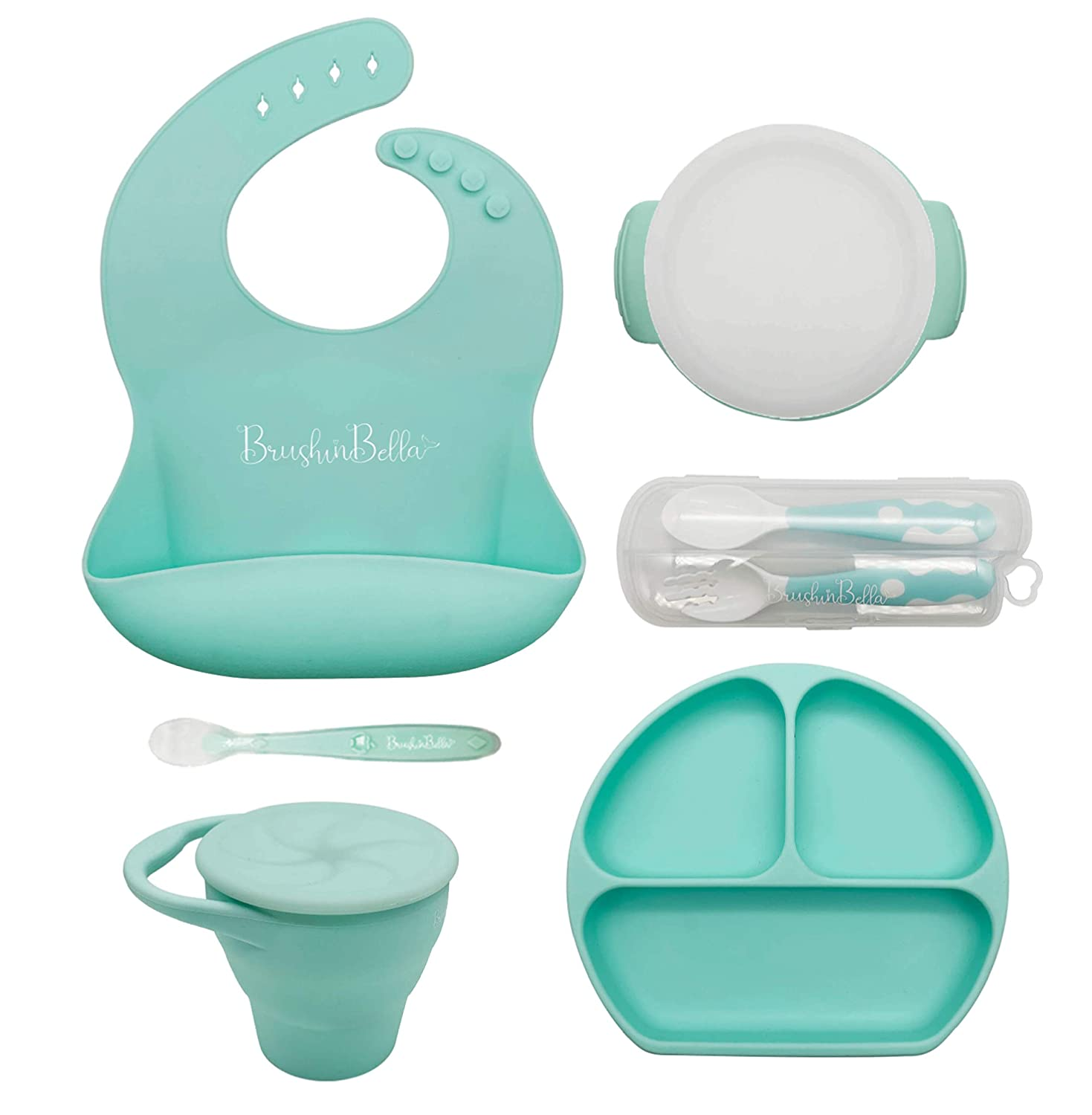 BrushinBella Baby Feeding Supplies - Complete Baby Feeding Set with Baby Plate, Baby Spoons First Stage, Silicone Bib and Snack Cup - Infant Eating Utensils and Baby Bowl with Suction