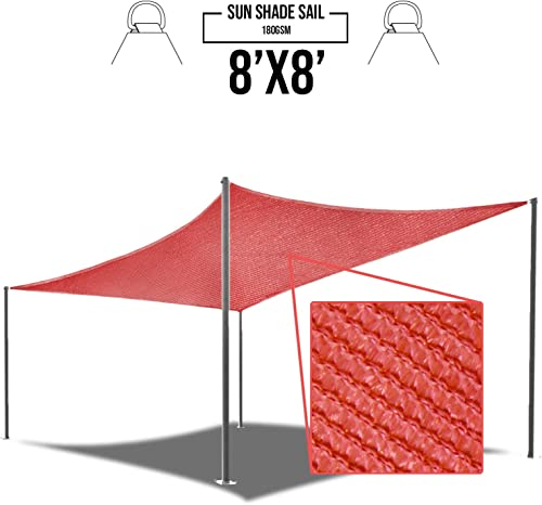 E K Sunrise 8 x 8 Red Sun Shade Sail Square Canopy – Permeable UV Block Fabric Durable Patio Outdoor Set of 1
