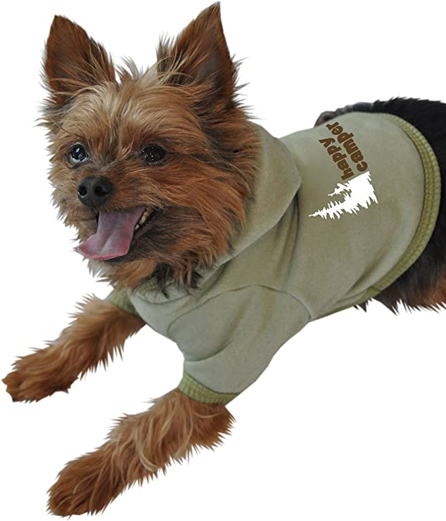 Happy Camper Blue Ruff Ruff and Meow Small Dog Hoodie