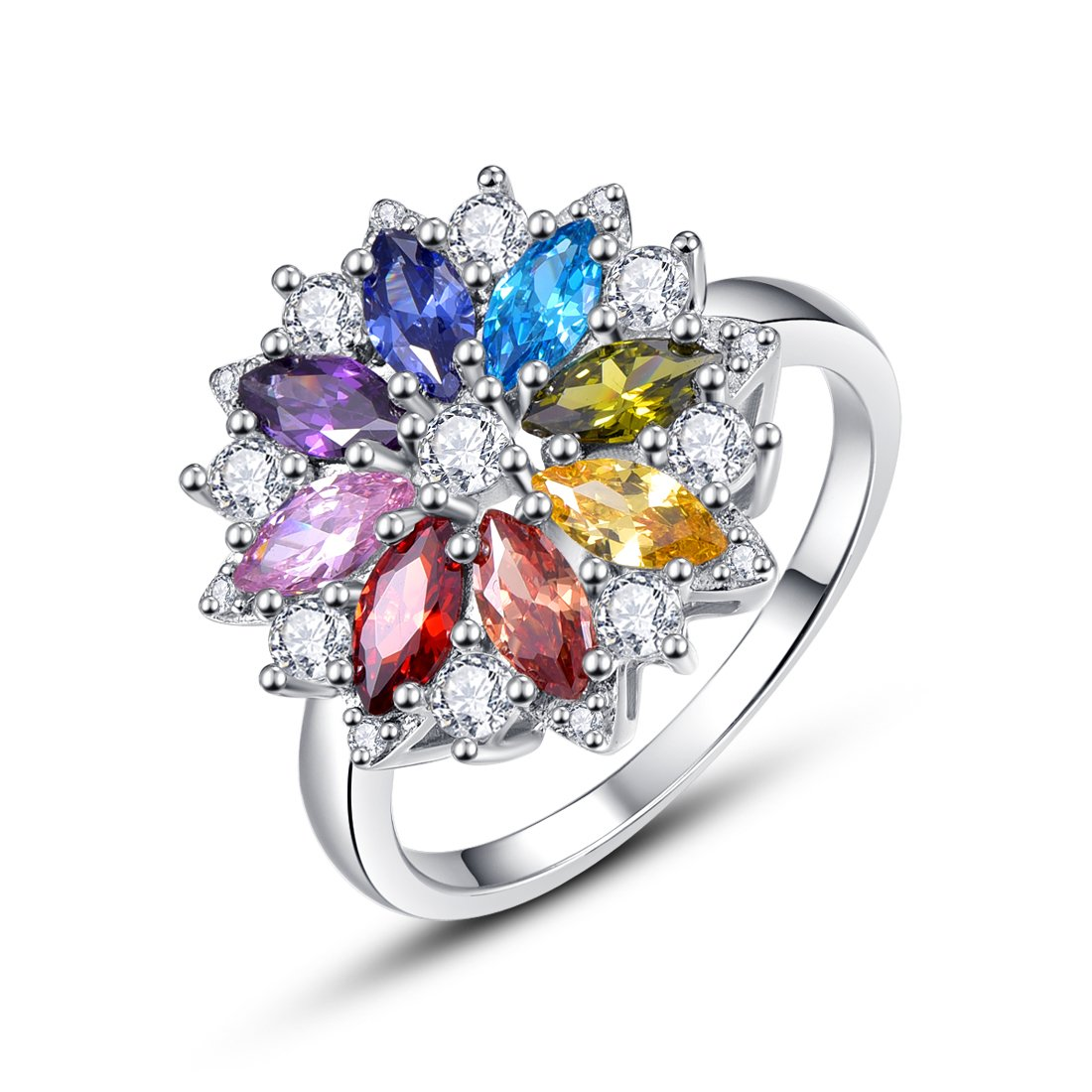 Merthus Womens 925 Sterling Silver Created Gemstones Cluster Flower Statement Ring