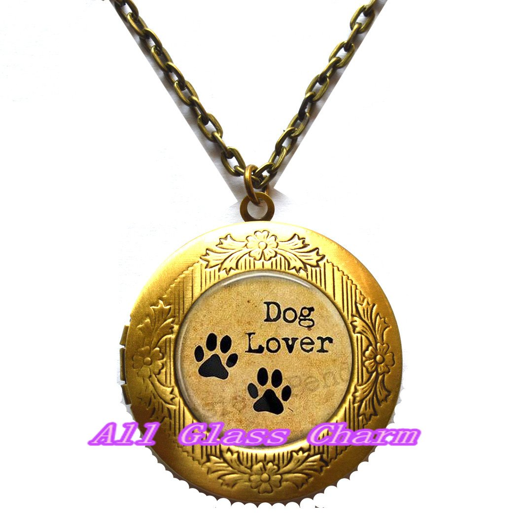 Dog Lover Gift,AS0174 Beautiful Locket Necklace,Dog Lover Locket Necklace Locket Pendant Pet Paws Jewelry