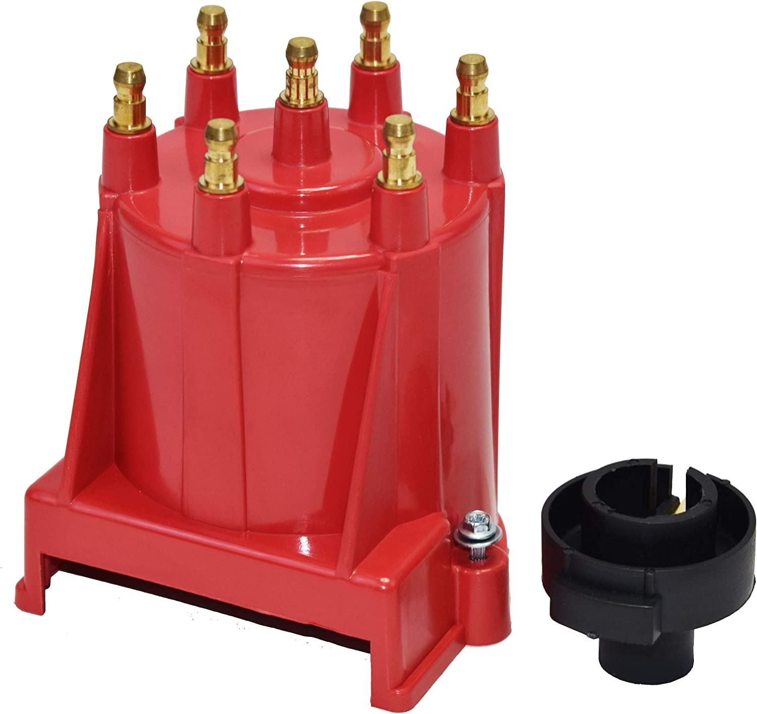 Red Cap A-Team Performance 6-Cylinder EFI Distributor Cap and Rotor Kit Compatible With GM 90/° V6