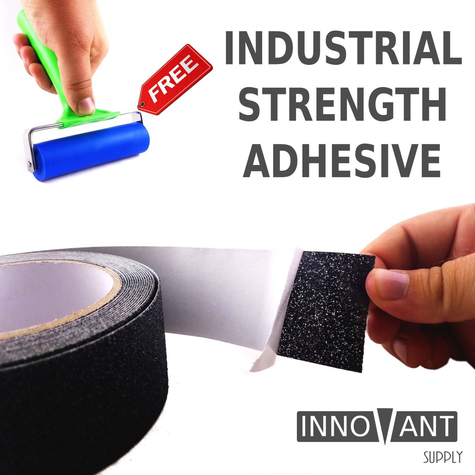 INNOVANT SUPPLY Anti-Slip Tape - Indoor / Outdoor Safety Grip Non-Slip Tape, Strong Friction Anti-Skid Grit Surface - Increase Grip on Stairs, Truck Beds, & Equipment - 4 inch x 16 foot (INDUSTRIAL)