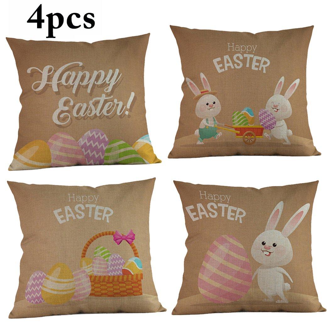 Federa Di Pasqua, Funpa 4Pcs Festa Piazza Cuscino Contento Pasqua Coniglio Piazza Copricuscino Per La Decorazione Domestica