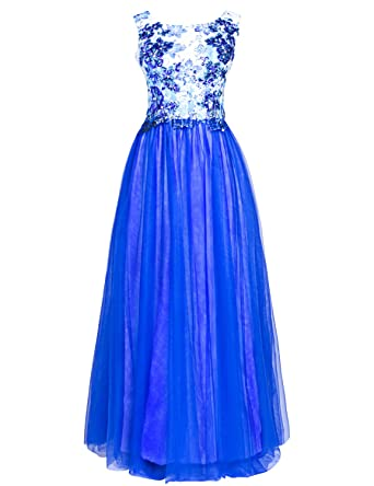 Clearbridal Womens Royal and Blue Vintage Lace Prom Dress Formal Long Tulle Bridesmaid Gown with Sequines