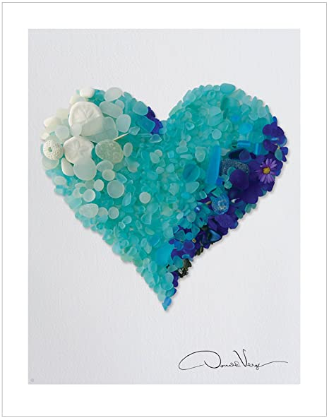 Review LOVE - Rare Blues & Aqua Sea Glass Heart Poster Print. 11x14 Great For Framing. Best Quality Gifts of Heart Collection. Unique Birthday, Christmas & Valentines Gifts for Women, Men & Kids of All Ages