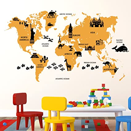 Buy Luke And Lilly World Map Kids Wall StickerPvc Vinyl Cm - World map wallpaper for walls india