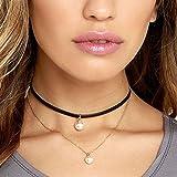 Gotd Women Punk Flannel Pearl Double Chain Necklace Collar Choker (Black)