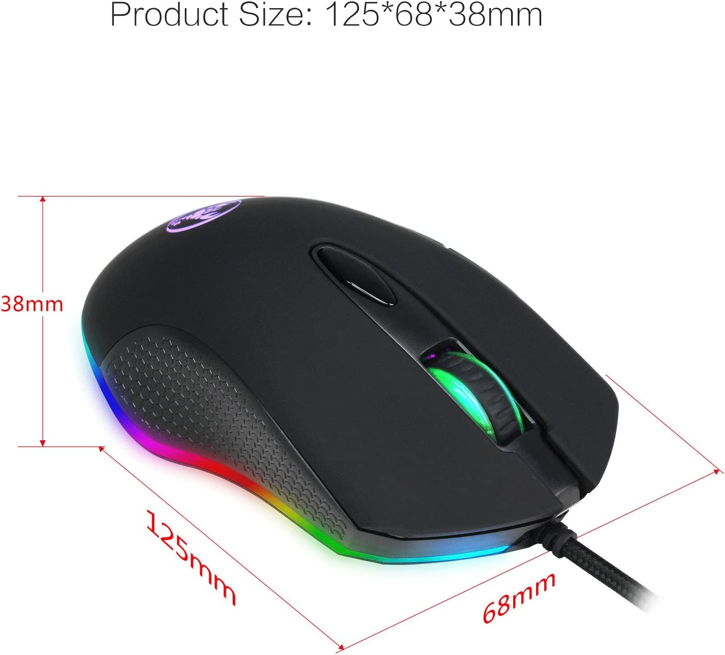 Notebook E-Sports 4800dpi Adjustable Wired Mouse Ergonomic Design Optical Mouse for Laptop Mac Gaming Mouse RGB Lighting PC