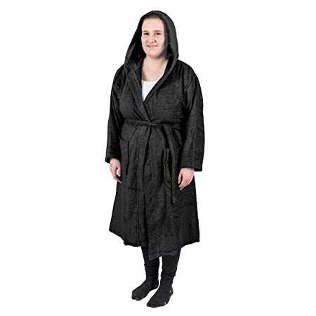 Homescapes Black Terry Towelling Adults Dressing Gown with Hood 100% Egyptian  Cotton Luxury Unisex Bathrobe 395eeef92