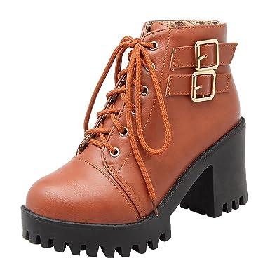 UH Damen Schnür Stiefeletten Plateau Chunky Heels Boots mit Fell 8cm Absatz Warm  Freizeit Schuhe d4ae98542e