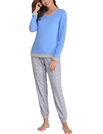 787c4bd466 Hawiton Women s Cotton Long Sleeve Pajamas Set Sleepwear Dot Pattern Bottom  Lounge Nightgowns Blue