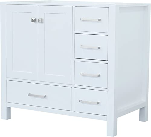 ARIEL Cambridge A037S-L-BC-WHT 36″ Inch Single Left Offset Solid Wood White Bathroom Vanity Base Cabinet