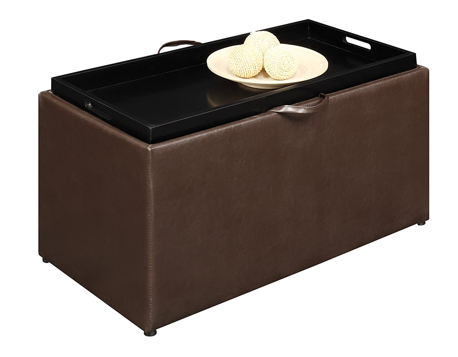 Amazon.com: Convenience Concepts 143012 Sheridan Faux Leather Storage Bench  with 2 Side Ottomans, Dark Espresso: Kitchen & Dining - Amazon.com: Convenience Concepts 143012 Sheridan Faux Leather