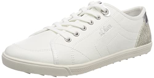 s.Oliver 23631, Zapatillas para Mujer, Blanco (White/Silver), 41 EU