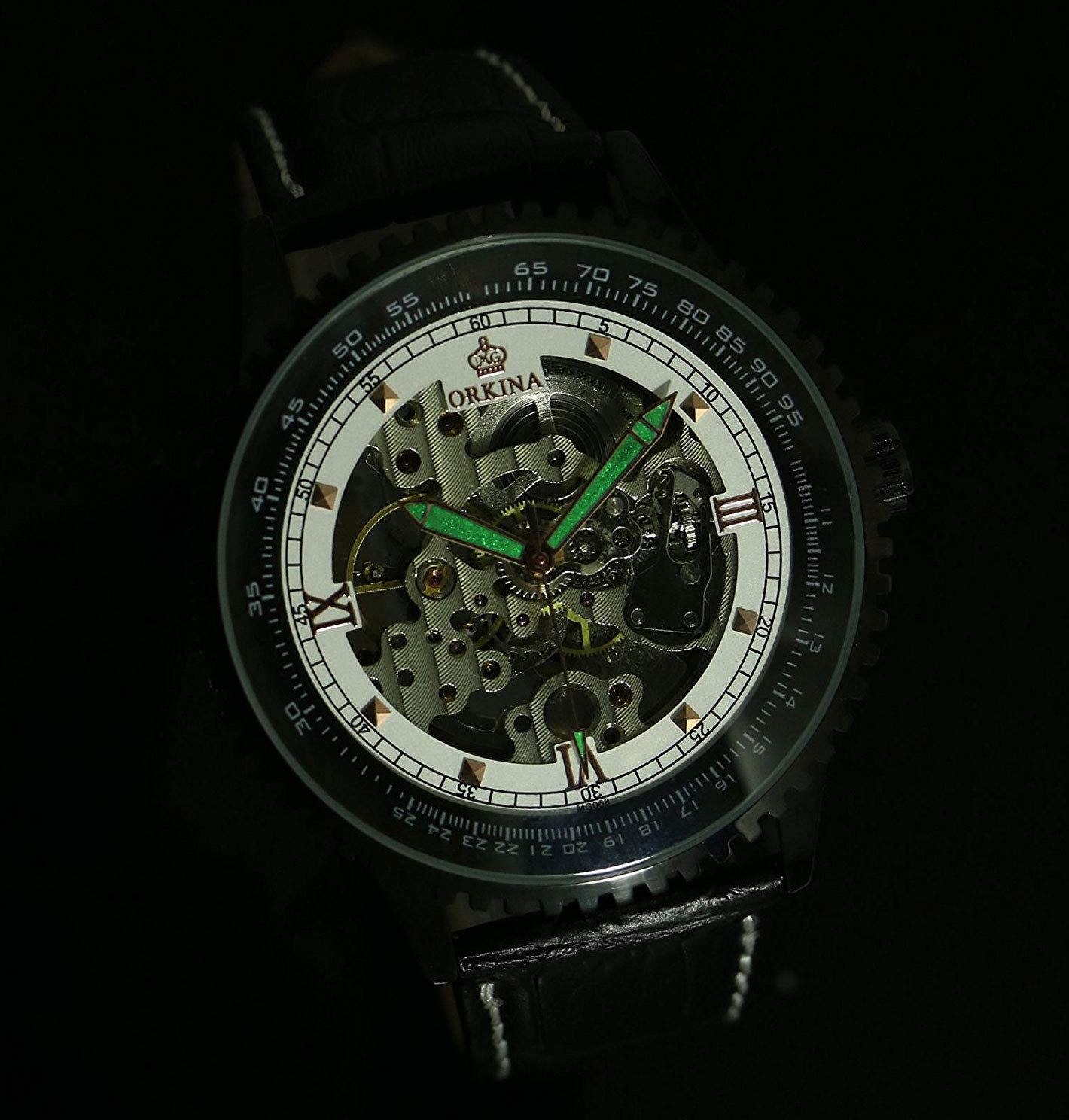 Carrie Hughes Men's Steampunk Skeleton Automatic Mechanical Watch Luminous Hands Waterproof Stainless Steel Leather Watch 4