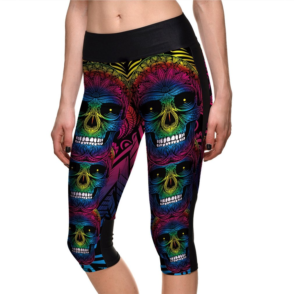 Women's Halloween Sugar Skull Printed Leggings Ankle Length Tights Capris Pants sissycos