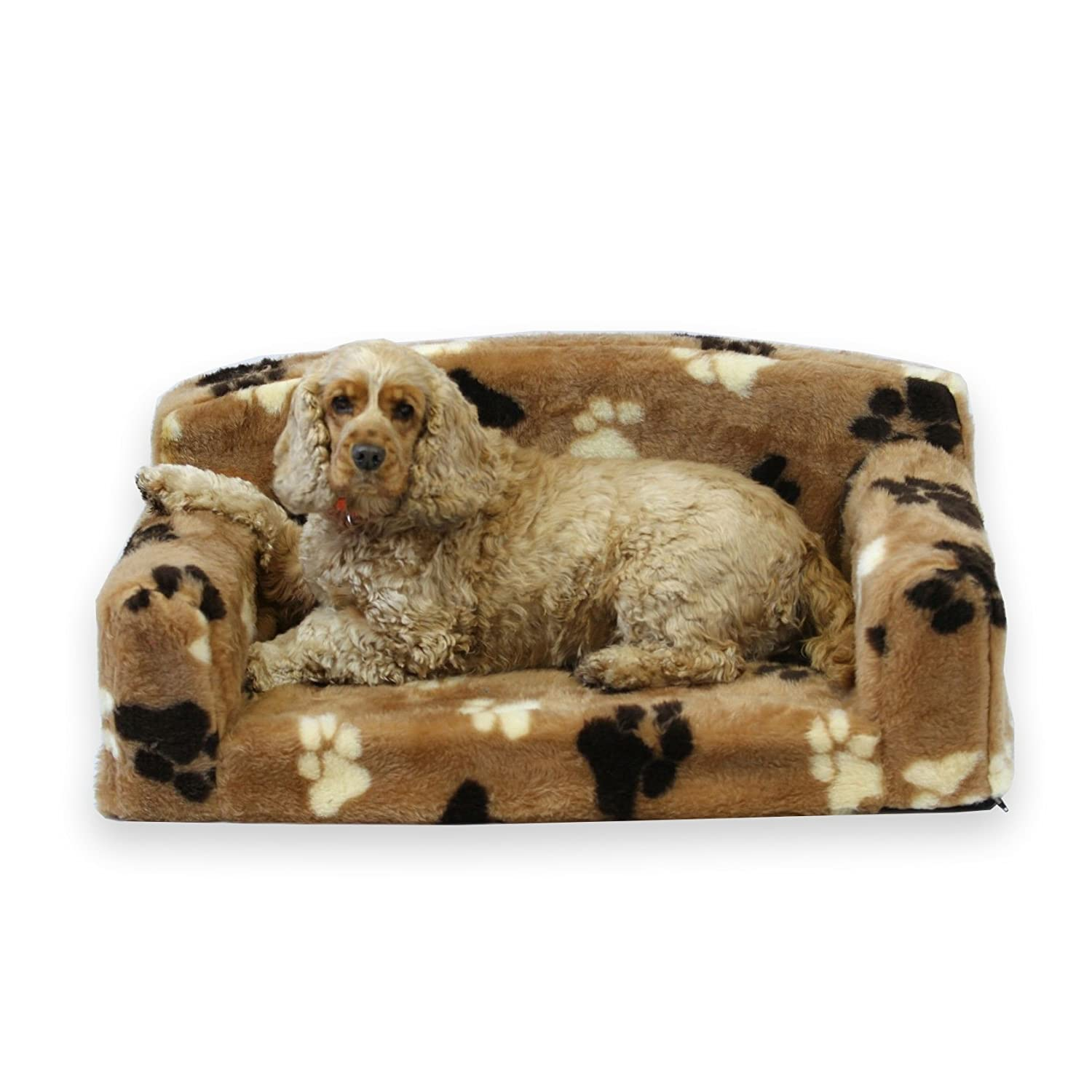 Fur Paws – Faux Fur Pet Sofa. Nice Pet Settee. Very Soft Dog bed. Removable cover for animal Couch. Inner material is high grade foam. UK MANUFACTURER (Brown with paws, Medium 96 x 46 x 34cm) PetBeds Direct