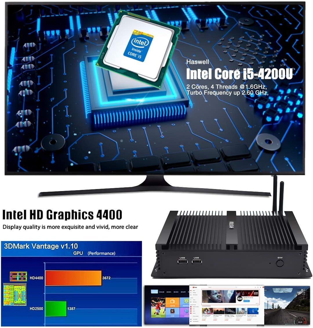 HYSTOU Fanless Mini PC Windows 10,Intel Core i5 4200U,Porte seriali multiple,8GB DDR3+256GB SSD,HDMI VGA USB*4 Custodia in alluminio 4K Display WiFi Bluetooth