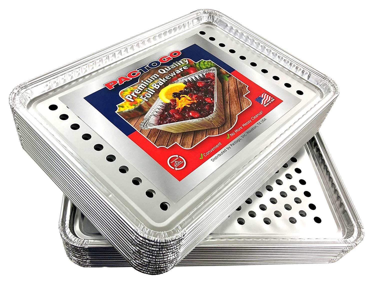 Pactogo 16'' x 11'' Aluminum Foil BBQ Gourmet Grill Topper Pan (Pack of 25) by PTG