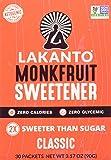 Lakanto Monk Fruit Sweetener,  Classic, 30 Count