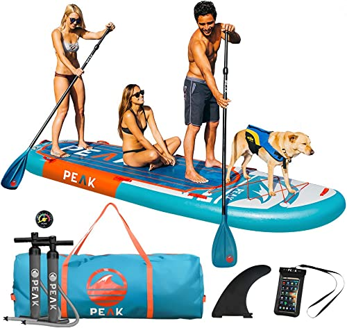 Peak 12 Titan Royal Blue Large Multi Person Inflatable Stand Up Paddle Board 45 Wide x 8 Thick 2 Adjustable Paddles 2 Pumps Stable Wide Stance Perfect for Kids Family