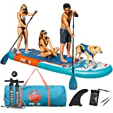 PEAK 12' Titan Royal Blue Large Multi Person Inflatable Stand Up Paddle Board with 2 Adj Paddles