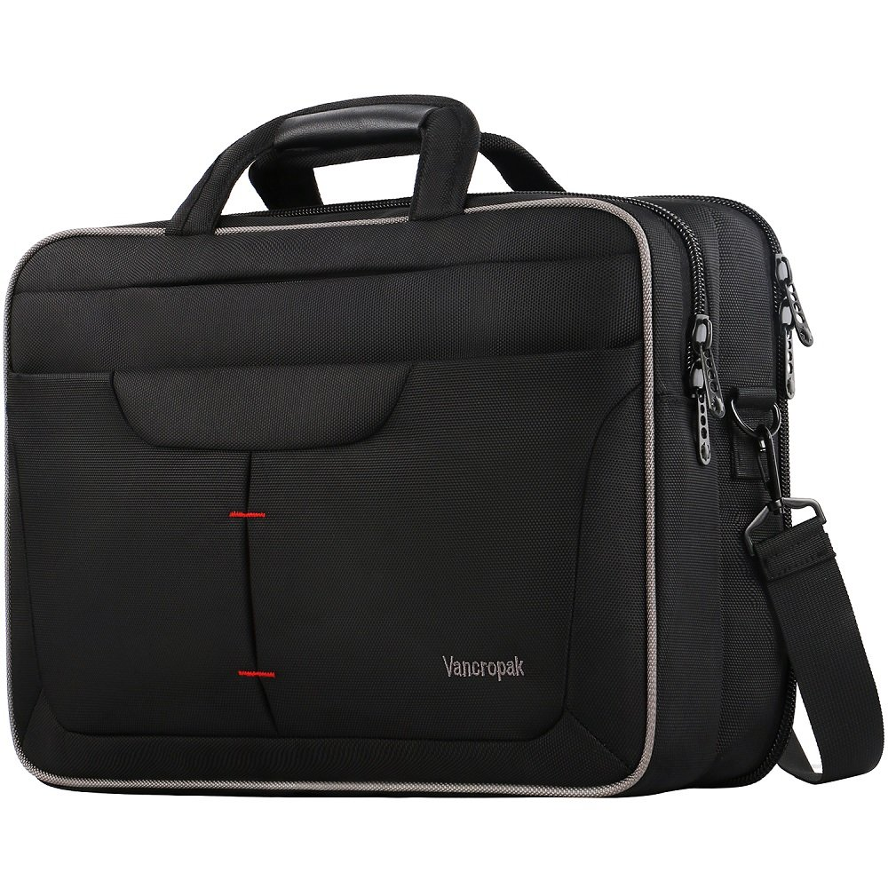 Briefcases for Men, 15.6 Inch Laptop Bag, TSA Travel Durable Office Computer Messenger Bags with Checkpoint Friendly Design, Black Water Rasistant Nylon Business Shoulder Case for Women Unisex