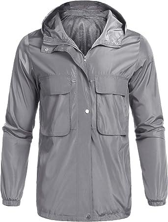 poriff Mens Waterproof Raincoat Packable Active Outdoor Hooded Lightweight Rain Jacket Windbreaker Black XXL