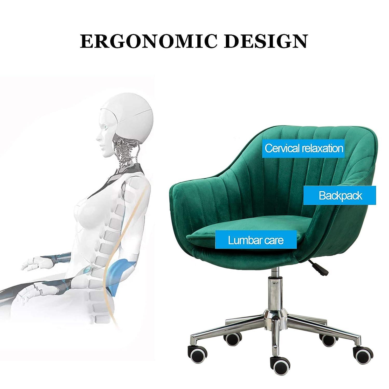 Svängbar stol, mitten av ryggen kontorsstol med sammetskudde, ergonomisk skrivbordsstol med ländrygg stöd för hemmakontor vardagsrum gRÖN