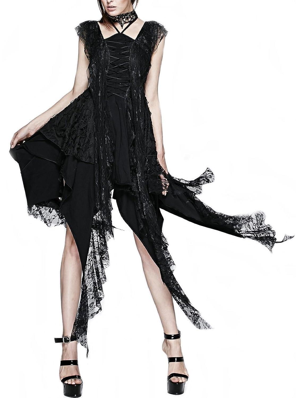 Punk Rave Sommer Kleid Tunika Fetzen kurz lang schwarz cocktailkleid