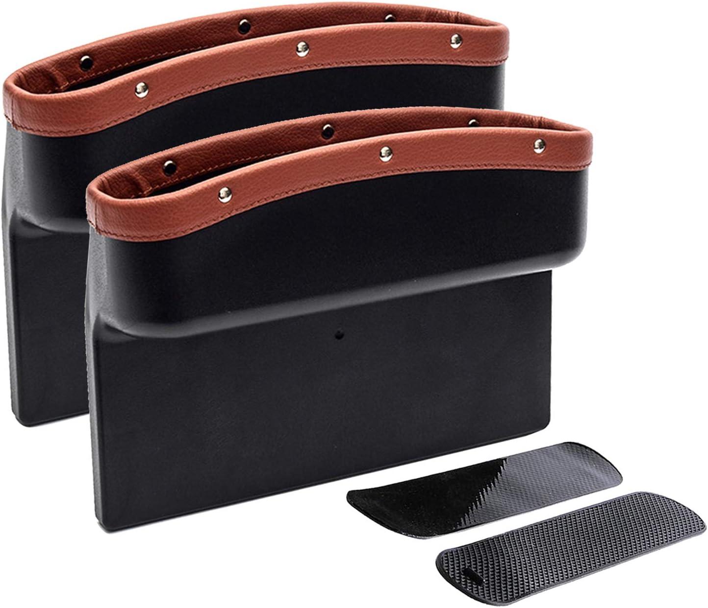 EZEYU TLitdr Car Seat Gap Filler Organizer,2 Pack PU Car Gap Filler Non-Slip Organizer with 2 Non-Slip Mat Multi-Functional Storage Box for Cellphone Wallet Coin Key Black//Beige