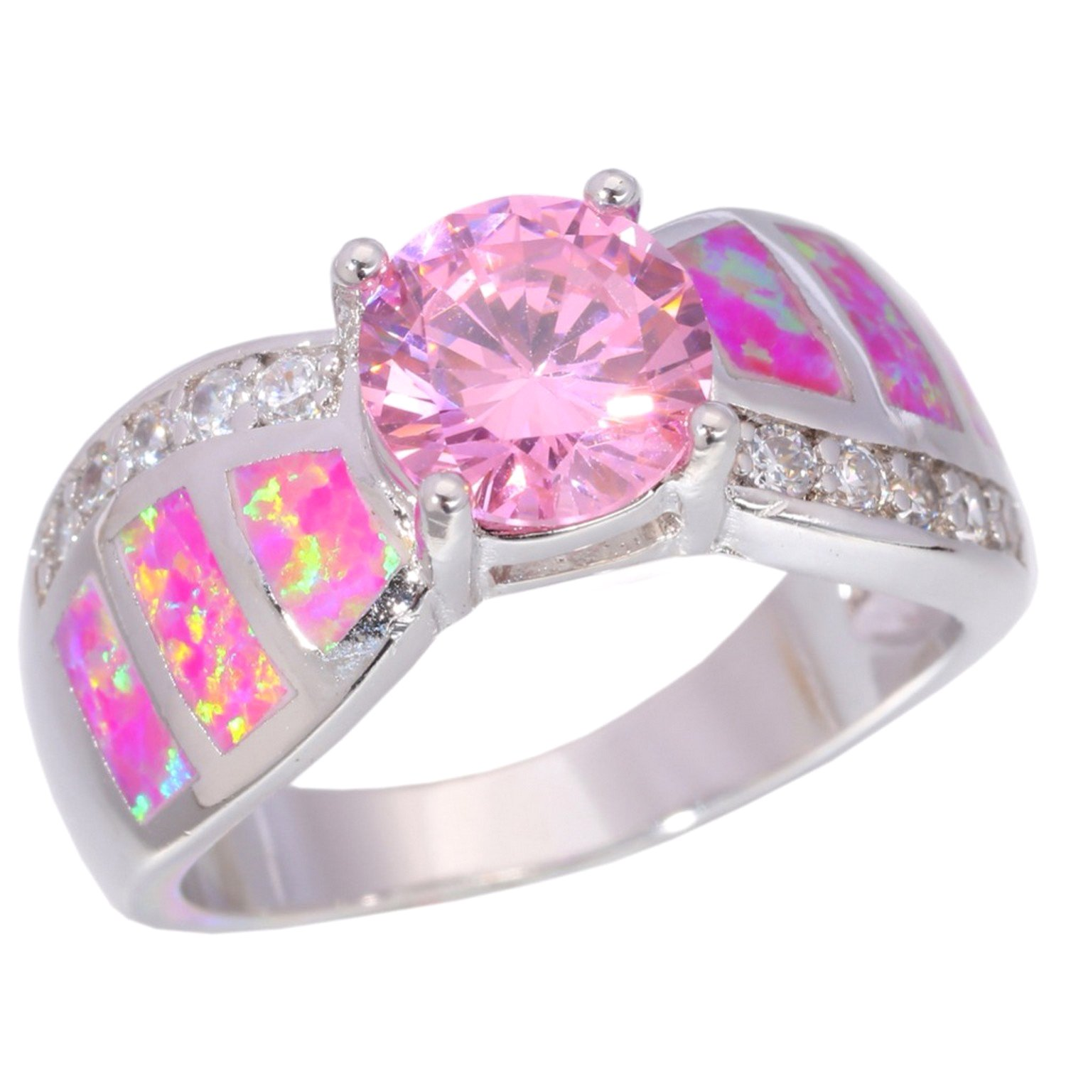 Amazon.com: Slyq Jewelry Created Opal Pink Zircon rose gold ...