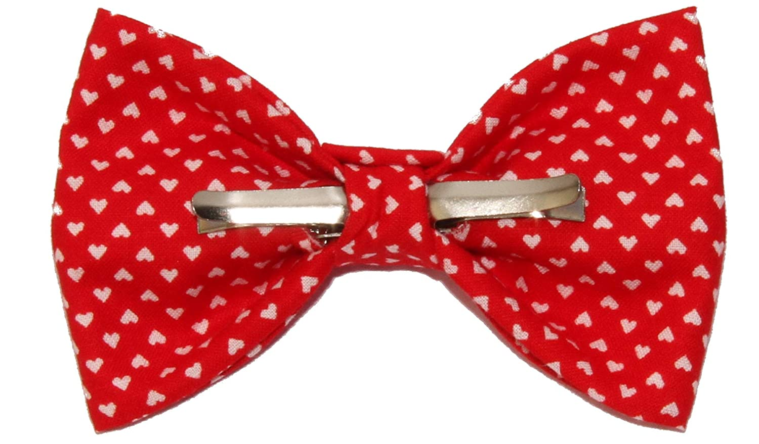 Boys Red With Tiny White Hearts Clip On Cotton Bow Tie amy2004marie 111006