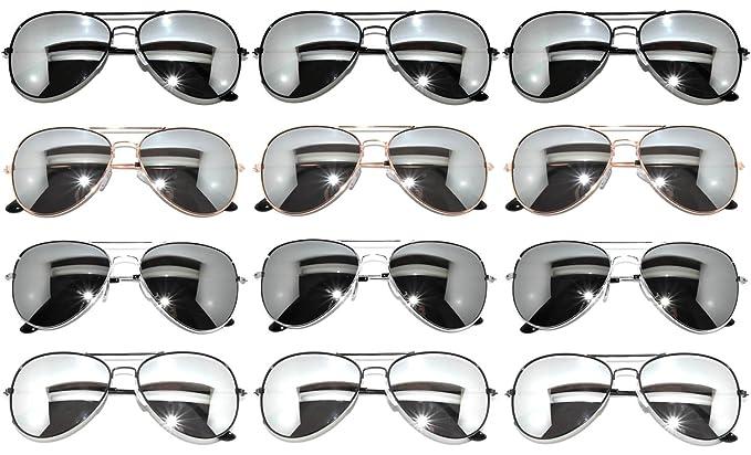 8e9abf1ad0 Amazon.com  Wholesale Classic 12 Aviator Sunglasses Mirror Silver Lens  Assorted Mix Colors  Clothing