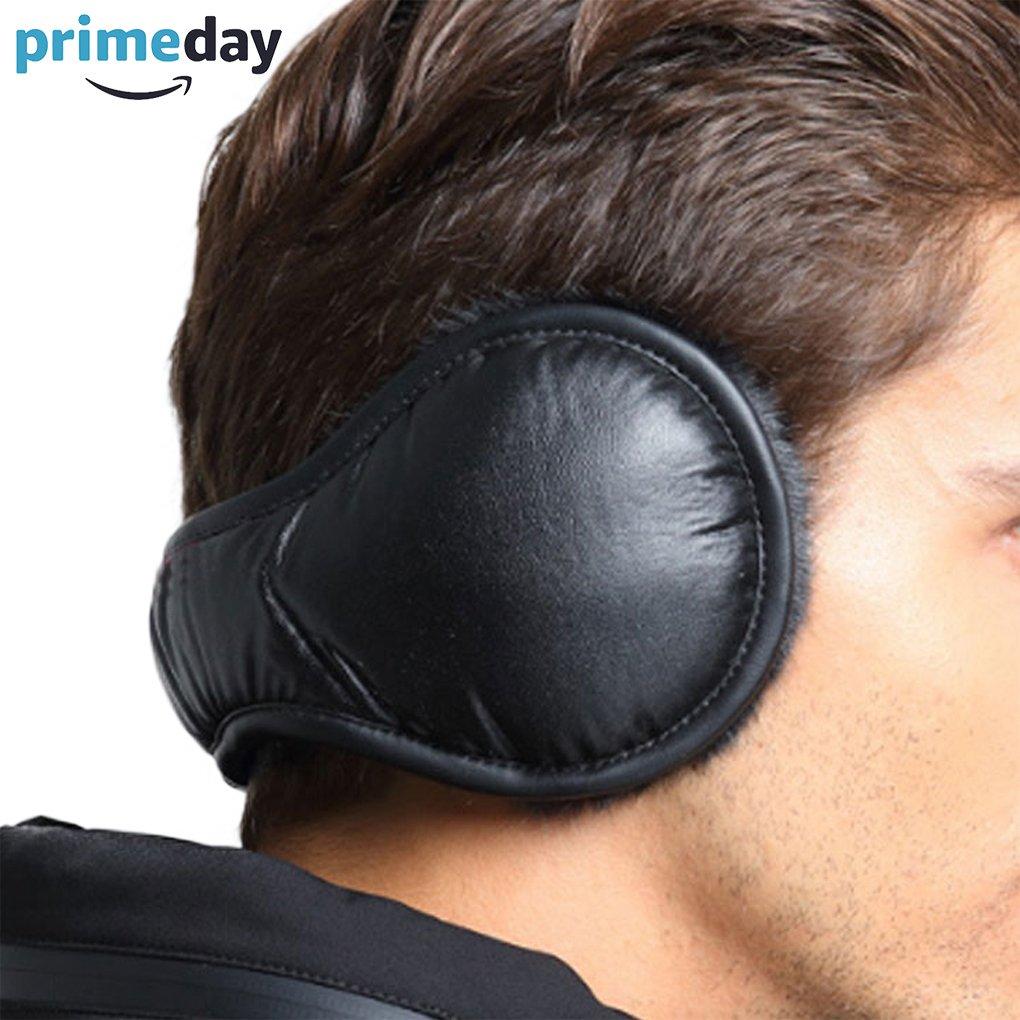 Unisex Ear Muffs PU Leather Ear Warmers Foldable Earmuffs for Winter