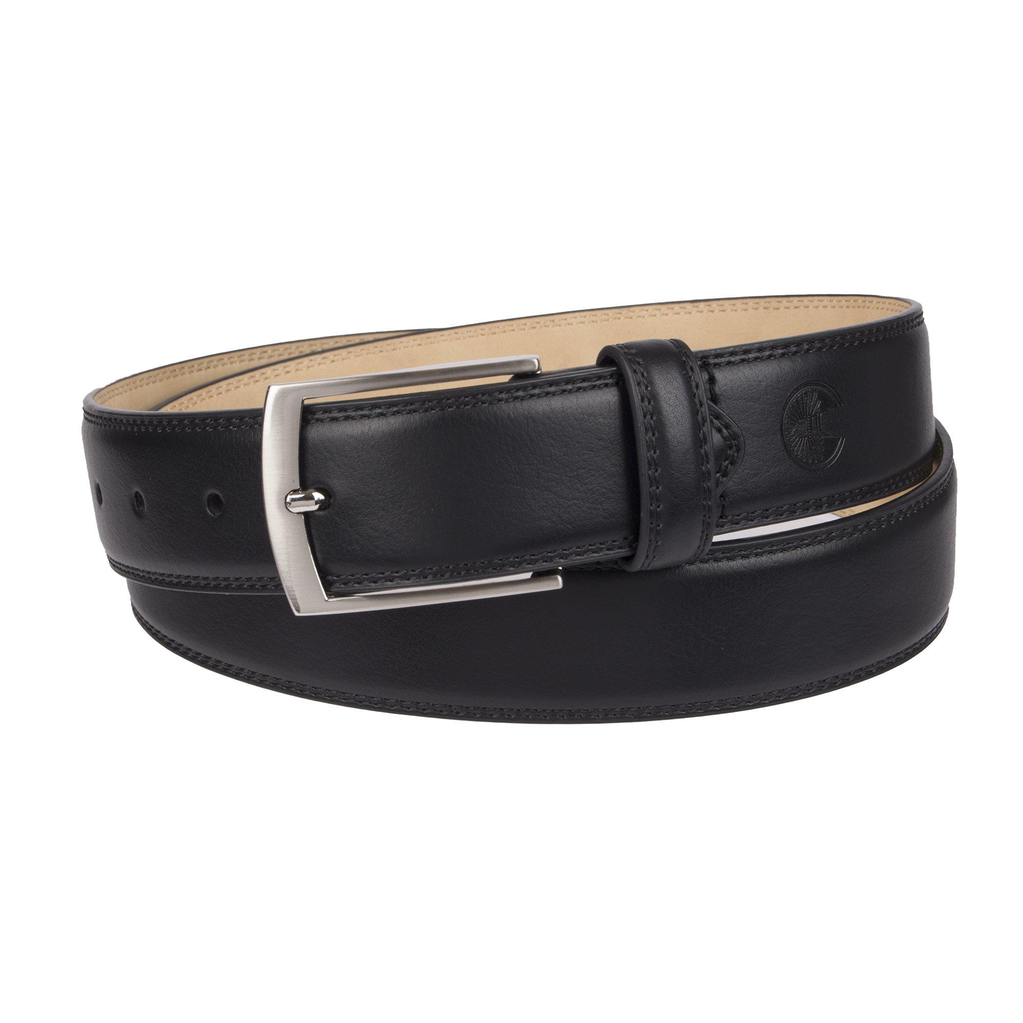 Weatherproof Men's Belt with Single Prong Buckle, Black/Silver Buckle, 36
