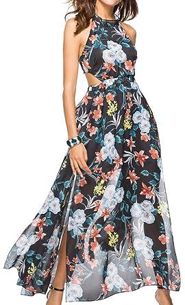 5be0dab1127 Silvia s Wand Women Chiffon Floral Print Halter Neck Backless Boho Beach  Maxi Long Evening Party Dress