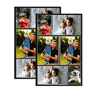 Raxwalker Magnetic Collage Picture Frames for Refrigerator, Holds 4x6, 2x3 inches Photo,2 Pack(Black)