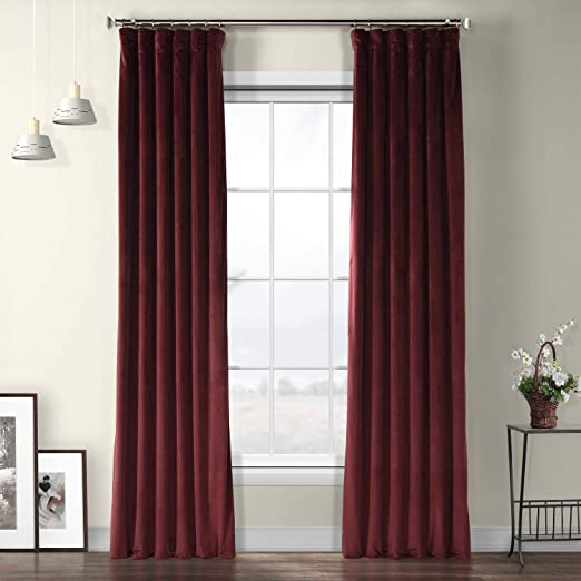 "New Modern Home Door//Window Drapes Solid Burgundy Velvet 96/"" Curtain Long Panel"